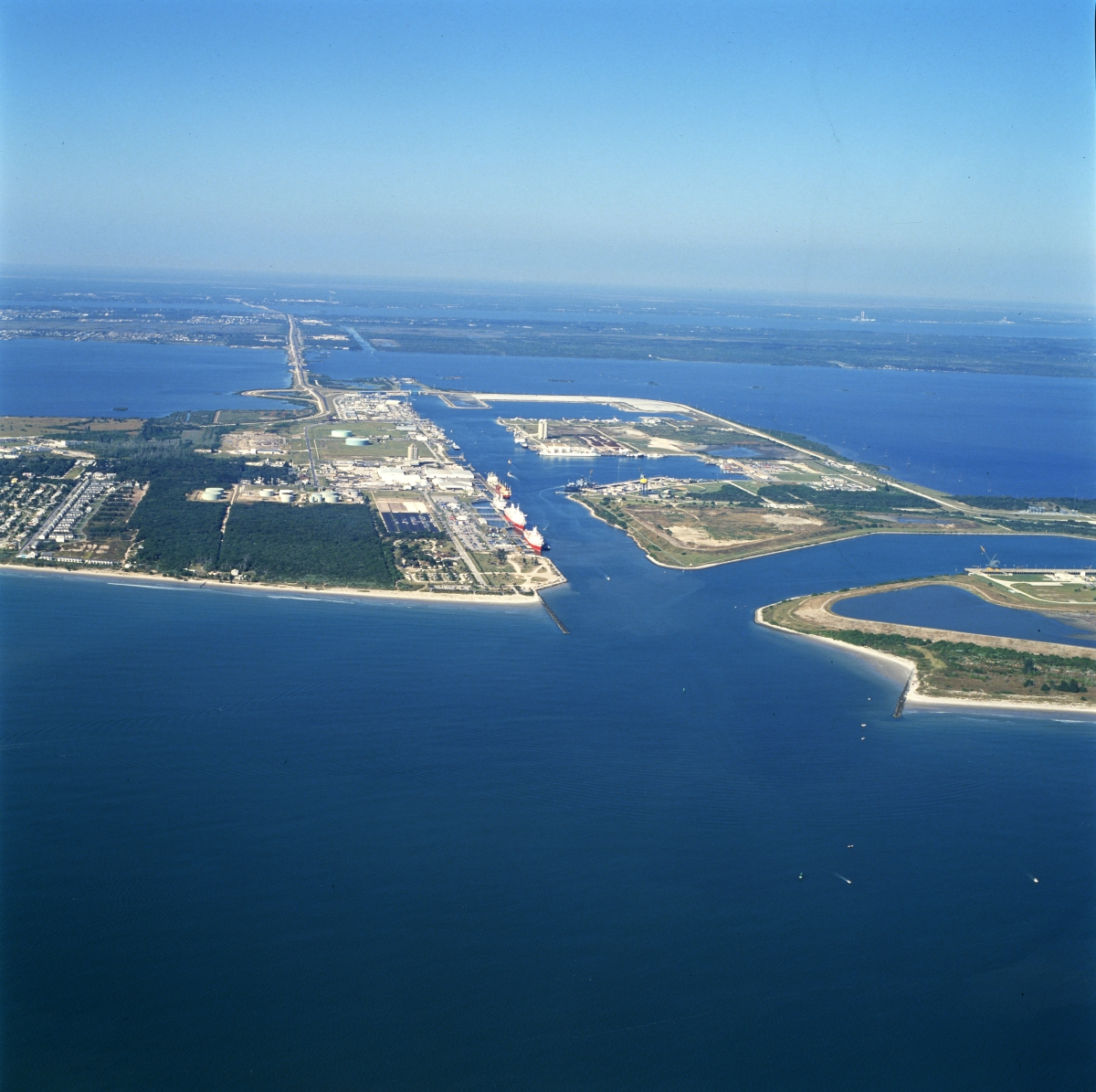 Aerial view looking west at Port Canaveral.
