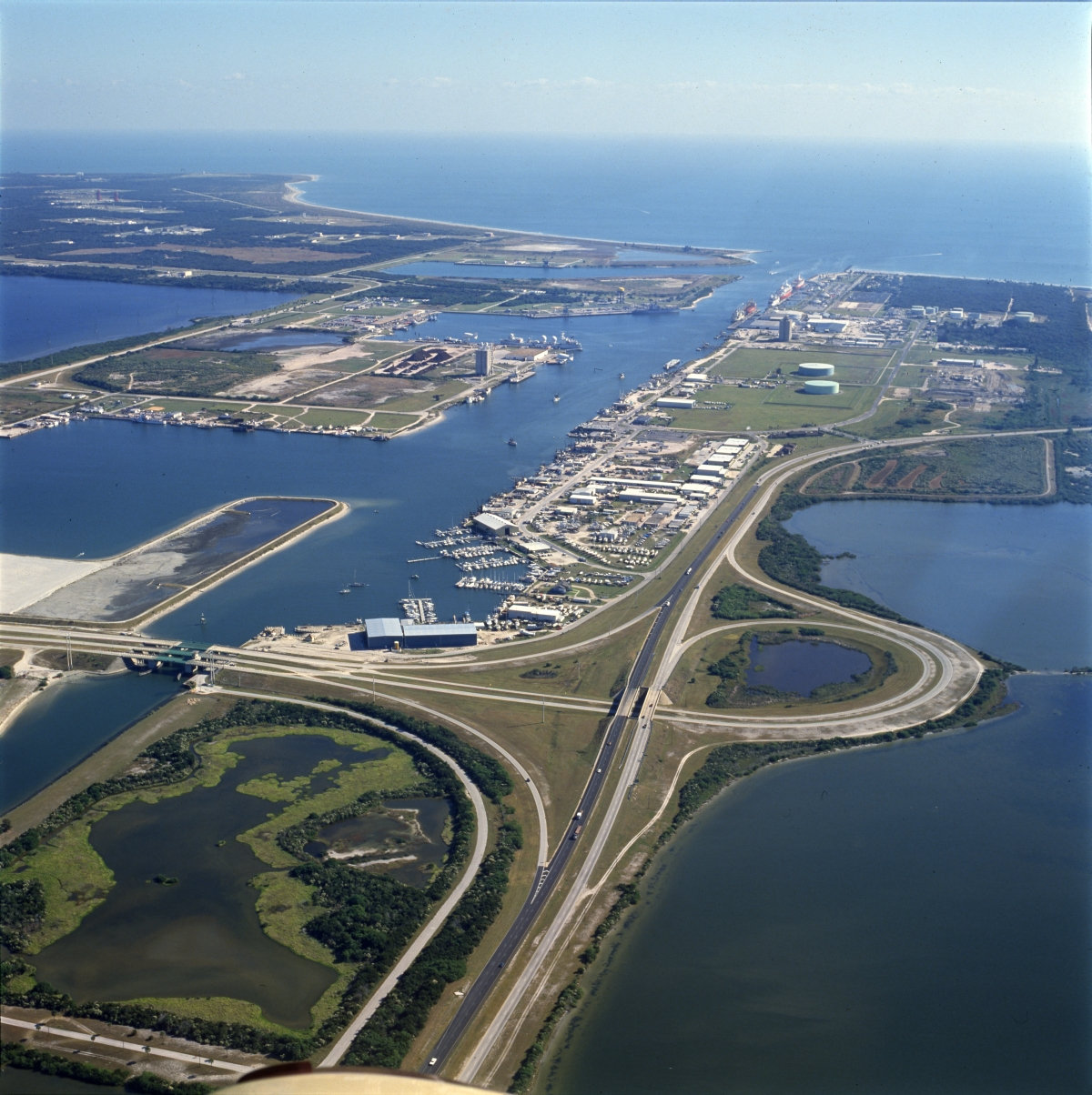Aerial view looking east over Port Canaveral.