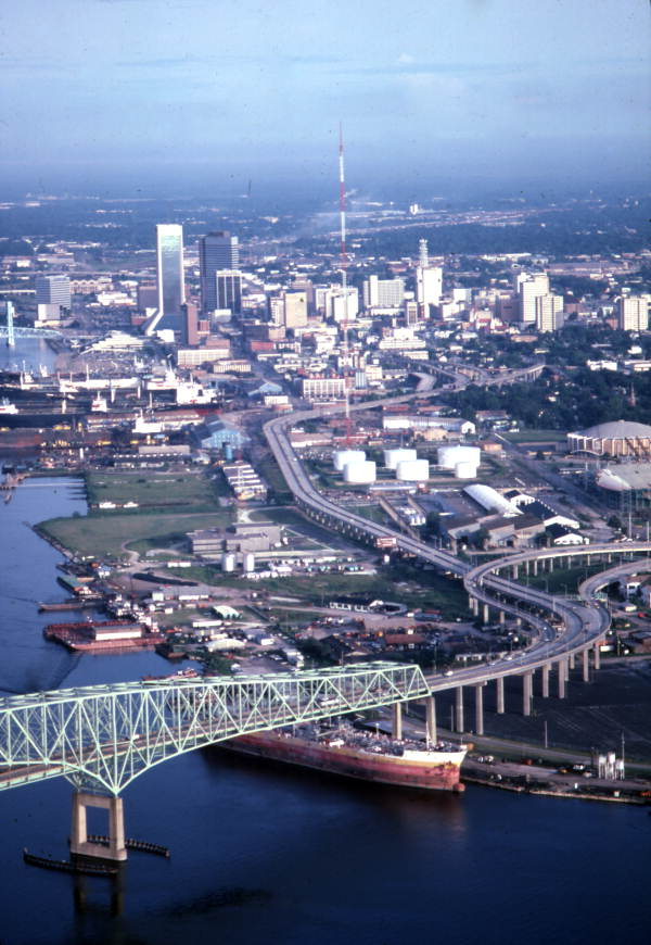 Aerial view looking west along expressway from the Isaiah D. Hart Bridge toward downtown Jacksonville.