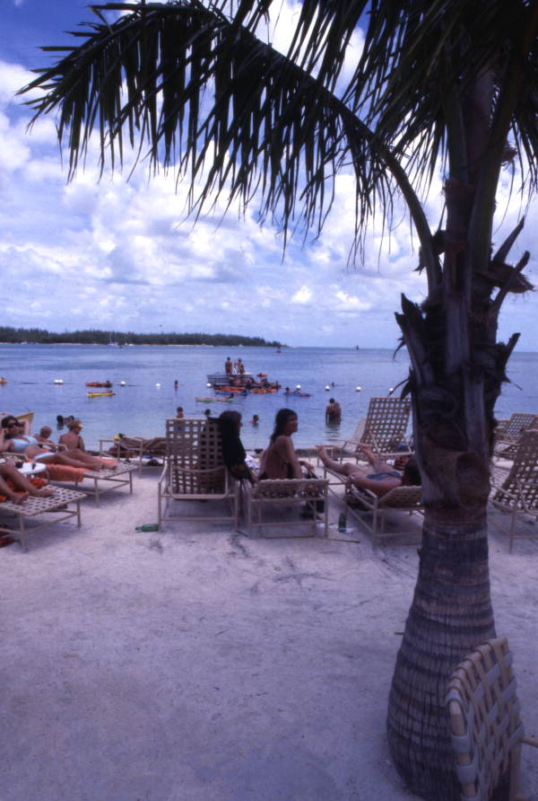 Guests enjoying the beach at the Pier House Resort and Caribbean Spa in Key West.
