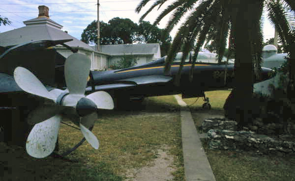 """Blue Angels F9F """"Cougar"""" fighter jet on display at the Lighthouse Military Museum in Key West."""