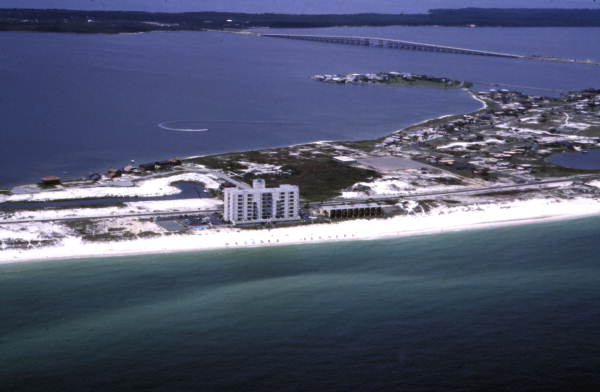 Aerial view looking north at the Sans Souci vacation condos at Pensacola Beach.