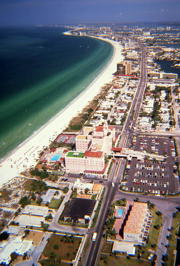 Aerial view looking north over the Don Ce-Sar Hotel and St. Petersburg Beach.