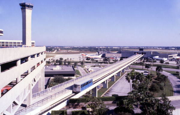 """Blue """"People mover"""" at the Tampa International Airport."""
