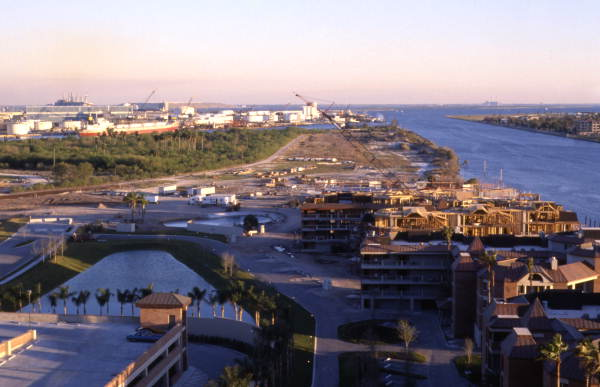 Bird's eye view looking south at multi-use development on Harbour Island in Tampa.