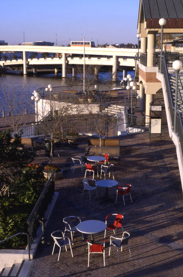 Landscaped patio at the Harbour Island Hotel in Tampa.