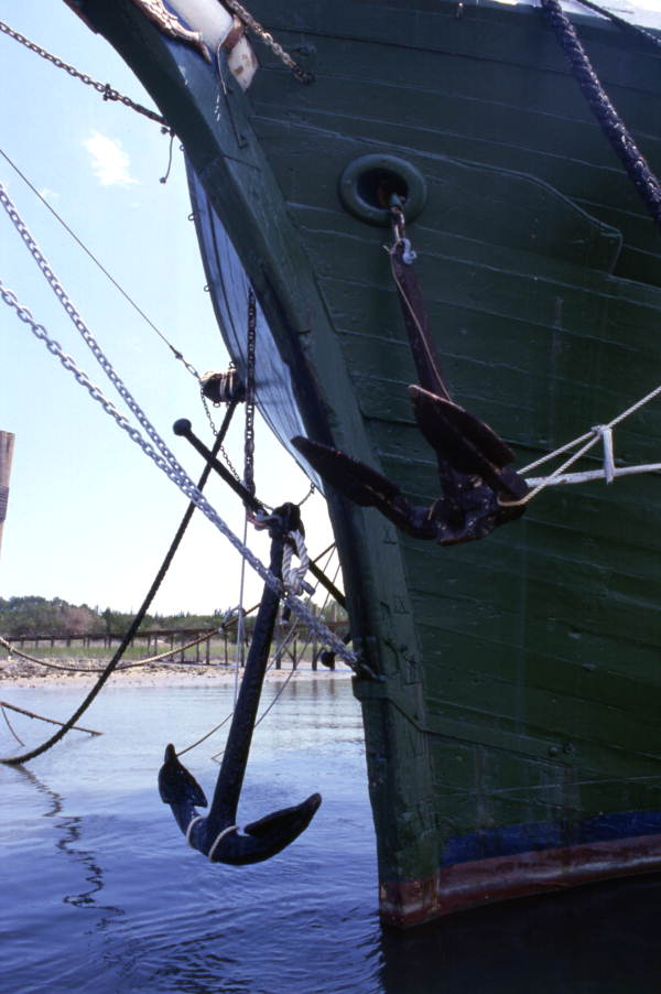 Close-up view showing anchors for the schooner Fenicio in Tampa.