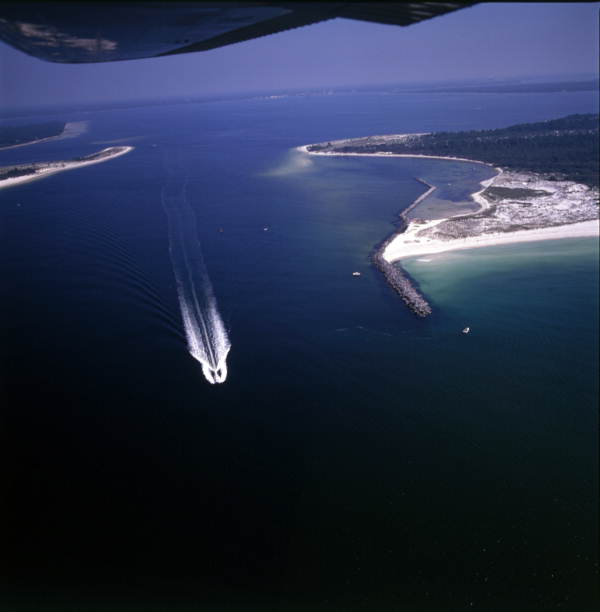 Aerial view overlooking an inlet in the Florida Panhandle.