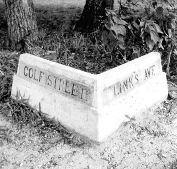 Street marker at Golf Street and Links Avenue - Sarasota, Florida.