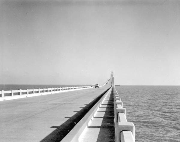 People fishing from the Sunshine Skyway Bridge - Pinellas County, Florida.