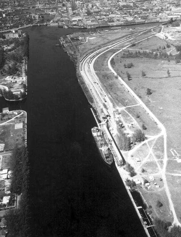 Aerial view of Tampa's ports.