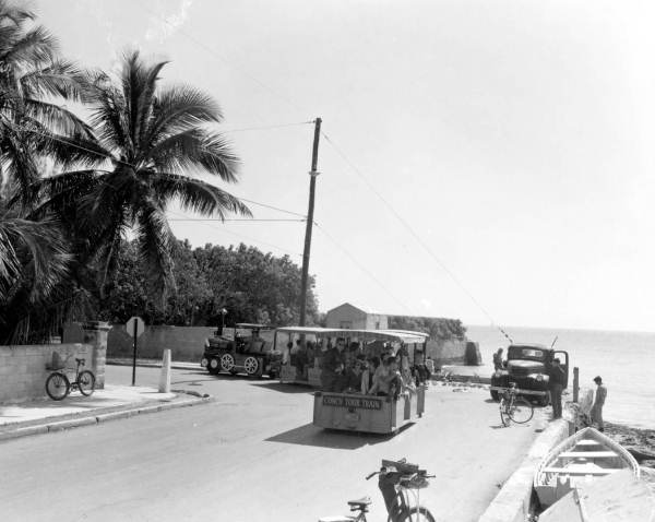 Conch tour train at the southernmost point - Key West, Florida.