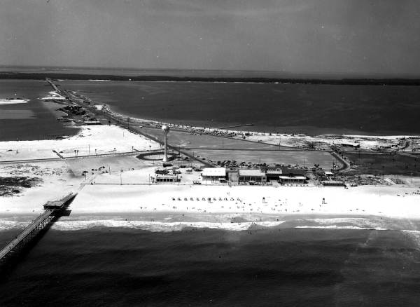 Aerial view with pier in foreground - Pensacola Beach, Florida.