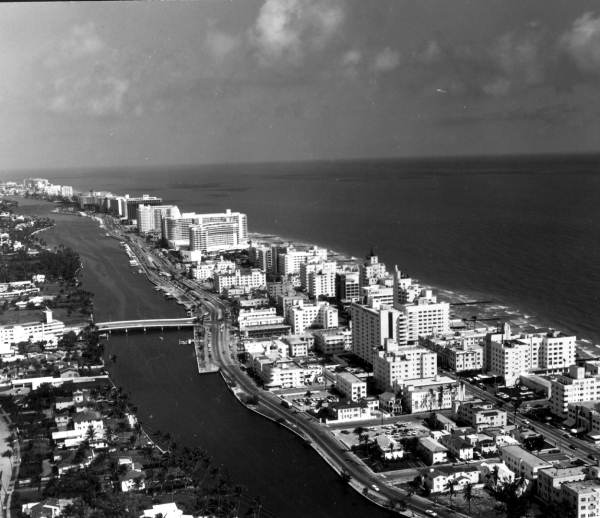 Aerial view with Indian Creek - Miami Beach, Florida.
