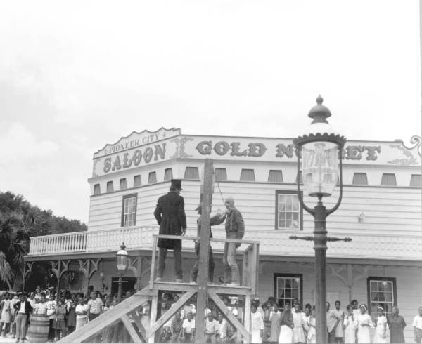 Hanging during a Wild west show at Pioneer City - Davie, Florida.