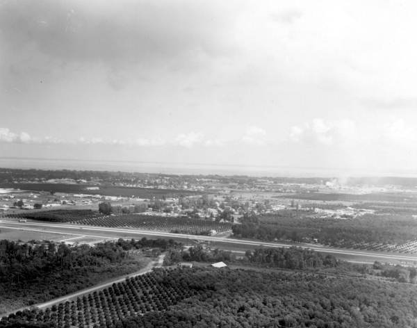 Aerial view looking north with Lake Apopka in background - Winter Garden, Florida.