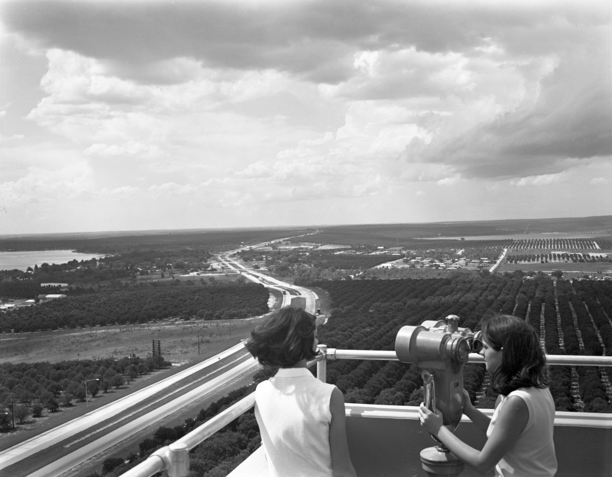 Two young women at the top of Florida Citrus Tower- Clermont, Florida.