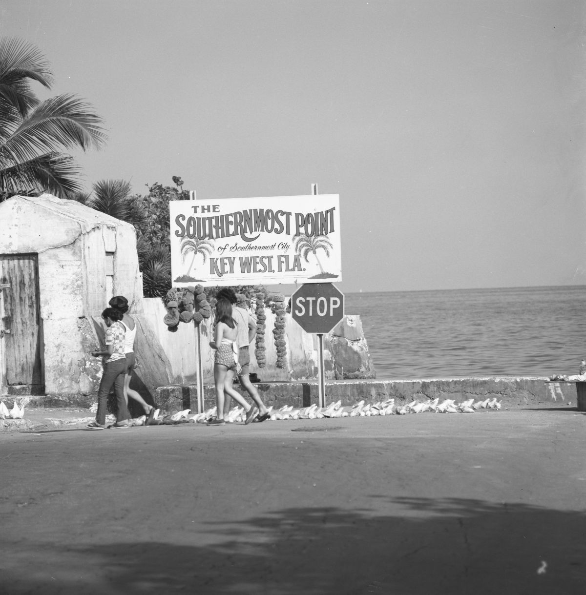 Sign for the southernmost point of the continental United States - Key West, Florida.