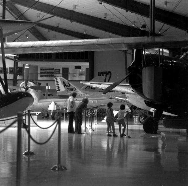 Visitors viewing the aircraft exhibit at the National Museum of Naval Aviation - Pensacola, Florida.