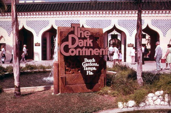 Sign for the Dark Continent attraction at the Busch Gardens amusement park in Tampa, Florida.