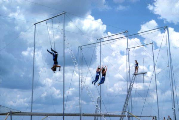 Trapeze artists performing at the Circus World theme park - Orlando, Florida.