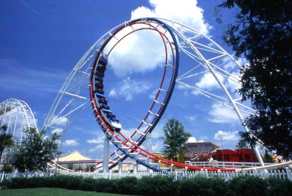 Zoomerang roller coaster at the Circus World theme park in Orlando, Florida.