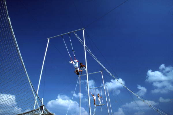 Trapeze artists performing at the Circus World theme park in Orlando, Florida.
