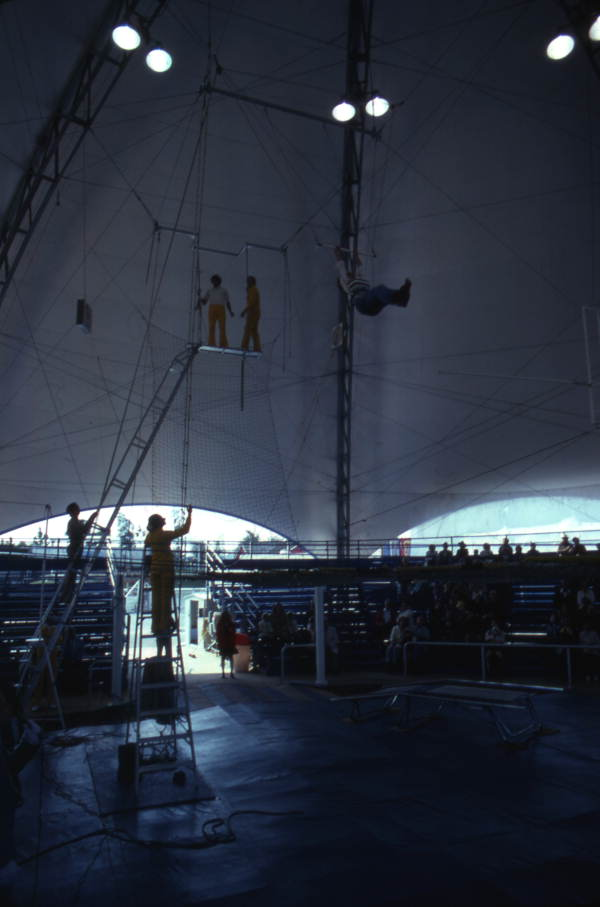 View showing trapeze artists performing at the Circus World theme park - Orlando, Florida.