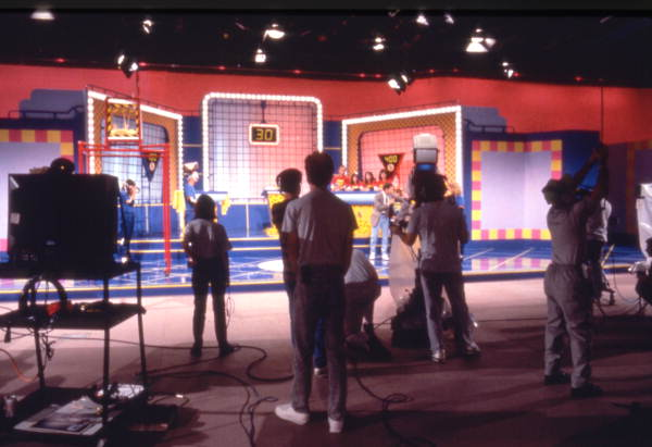 View of the set of the game show Family Double Dare at the Nickelodeon Studios attraction located at the Universal Studios Florida amusement park in Orlando, Florida.