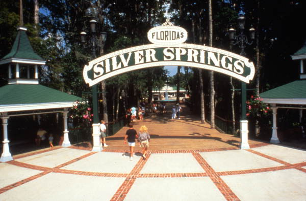 Main entrance to the Silver Springs attraction in Ocala, Florida.