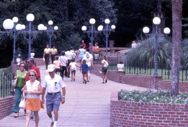 View showing visitors at the Silver Springs attraction in Ocala, Florida.