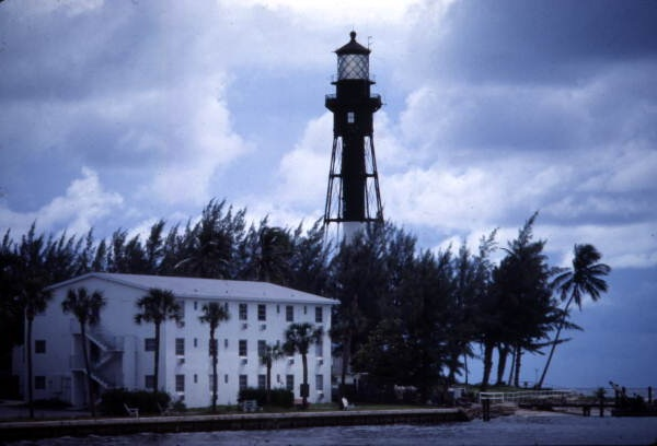 View showing the Hillsboro Lighthouse at Pompano Beach, Florida.