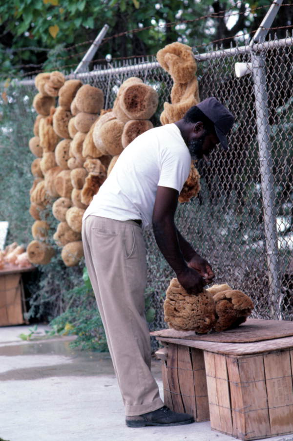 """Mr. Kee preparing sponges for sale at the """"Southernmost Point"""" - Key West, Florida."""