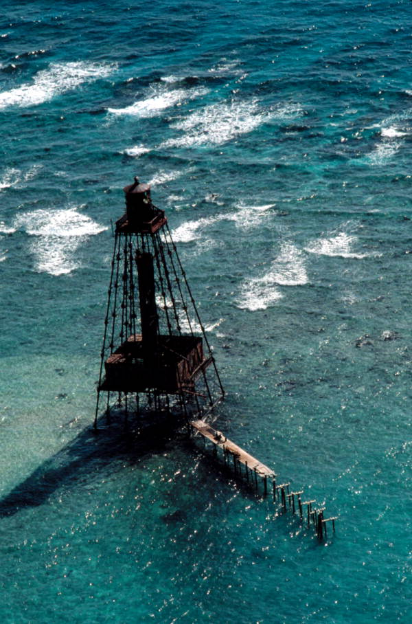 Aerial view of Sand Key Lighthouse - Key West, Florida..