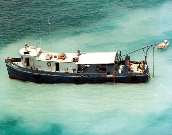 """Aerial view of the """"J.B. Magruder"""" - Key West, Florida."""