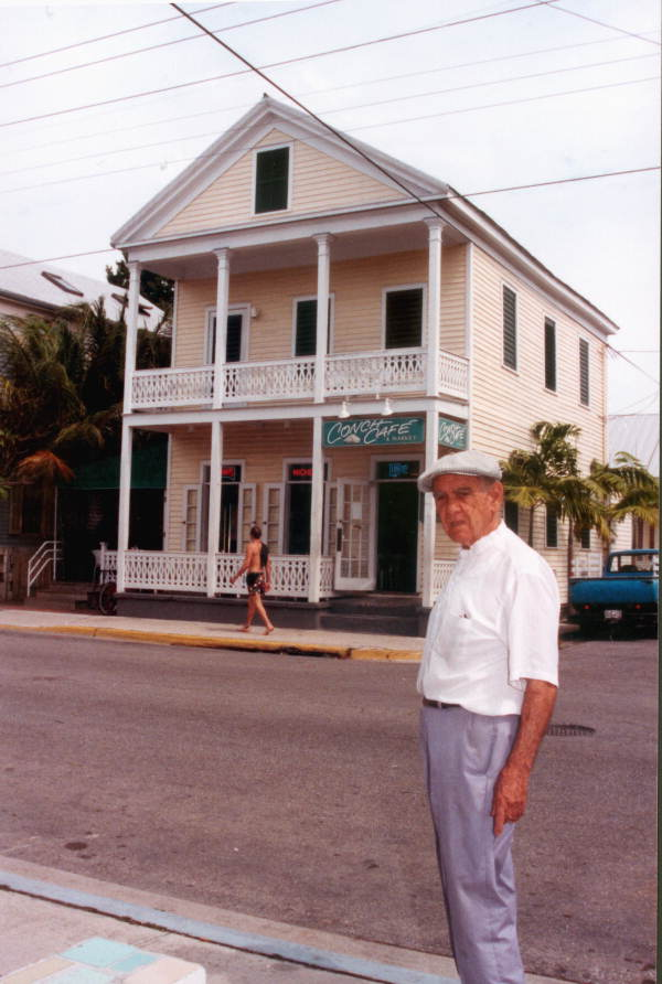 Mario Sanchez standing in front of the Conch Cafe at 1211 Duval Street - Key West, Florida.