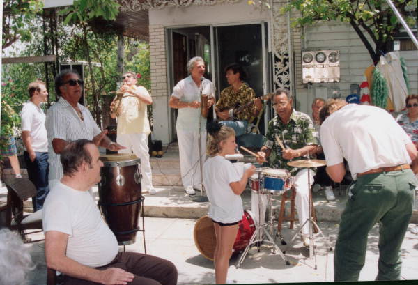 Musicians entertaining while PBS does a documentary on Mario Sanchez and his works - Key West, Florida.