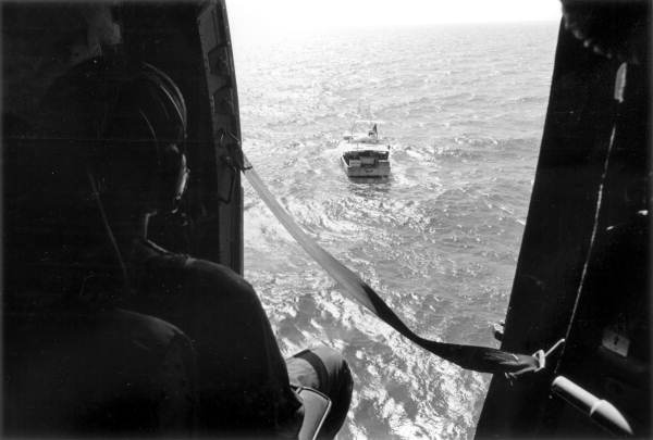 View of boat from U.S. Coast Guard helicopter.