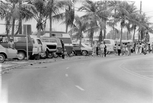 Cars parked along North Roosevelt Boulevard during the Mariel Boatlift.