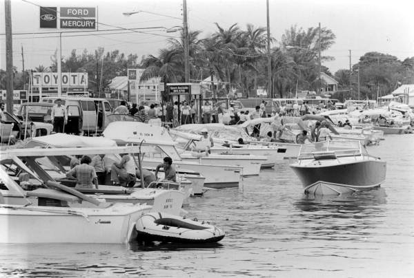 Boats docked along North Roosevelt Boulevard during the Mariel Boatlift.