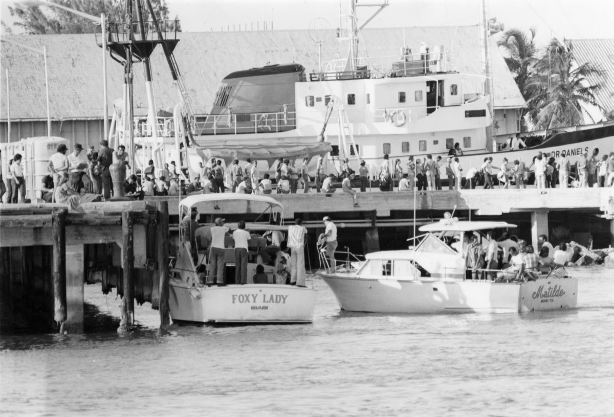 """""""Foxy Lady"""" and """"Matilde"""" returning from Mariel, Cuba with refugees on board - Key West, Florida."""