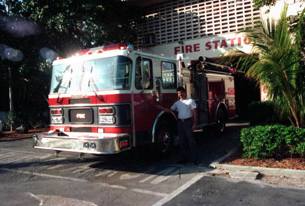 Captain Alex Vega standing with Engine Company #5 at Fire Station #2 on Simonton Street - Key West, Florida.