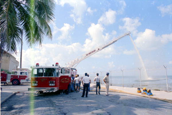 Key West Fire Department new ladder truck being flow tested at the Southernmost Point - Key West, Florida.