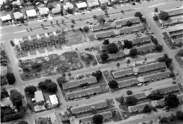Aerial view of old Poinciana Housing complex - Key West, Florida.