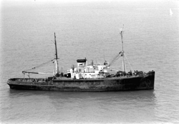 """The """"M/V Curb"""" off Key West, Florida prior to being sunk as an artificial reef."""