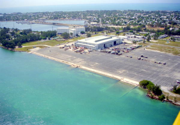 Old seaplane hangar, building C-1, at NAS Key West Trumbo Point Annex, Key West, FL..
