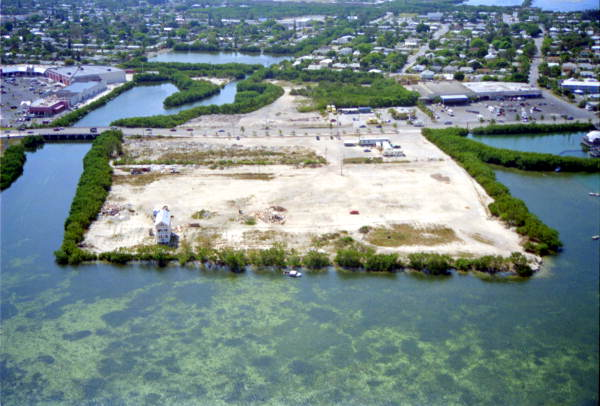 Aerial view of vacant lot on North Roosevelt Boulevard where county fairs were held - Key West, Florida.