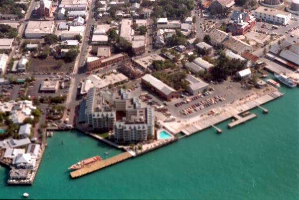 Aerial view of the Ocean Key Resort at 0 Duval Street next to Mallory Square - Key West, Florida.