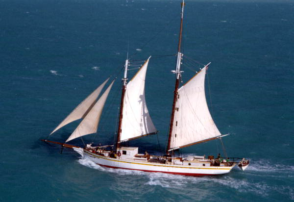 """The schooner """"Western Union"""" underway returning to Key West, FL for it's first return trip to the island following it's departure the year before.."""