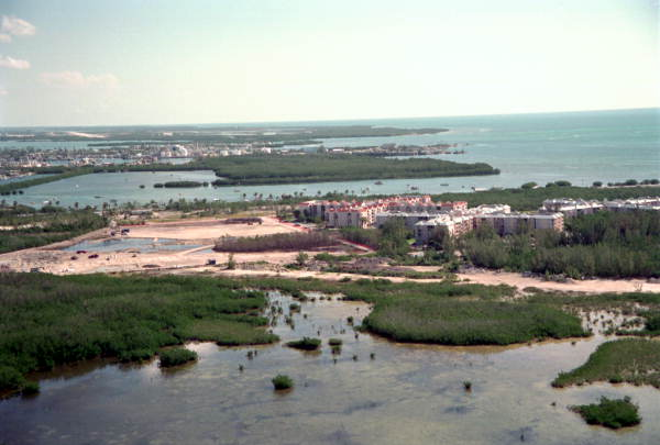 Aerial view of the Ocean Walk Apartments complex on South Roosevelt Boulevard - Key West, Florida.